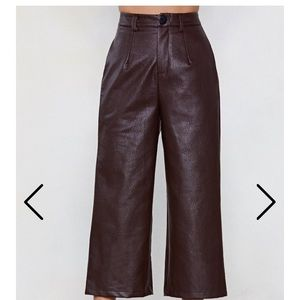 NASTYGAL Deep Brown Cropped Leather Pants